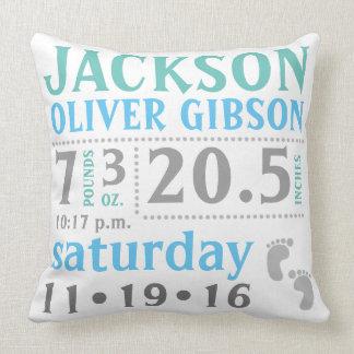 Baby boy Announcement Pillow, blue, green, grey Throw Pillow