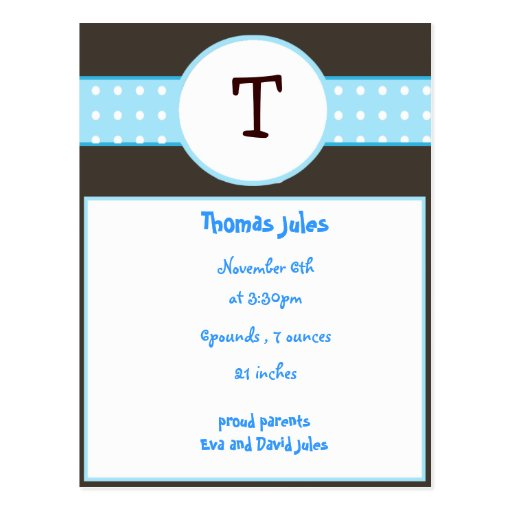 baby boy announcement post card