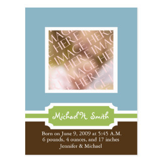 Baby Boy Announcement Template - Customized Postcard