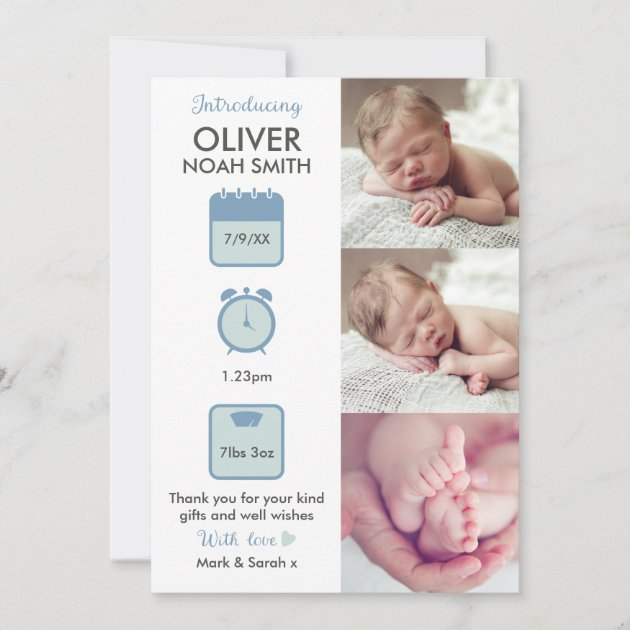 15 x PERSONALISED BIRTH ANNOUNCEMENT ARRIVAL THANK YOU  CARD NEW  BOY BABY CARD