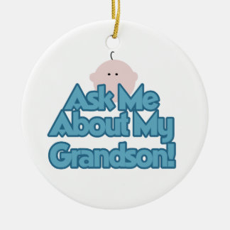 Baby Boy Ask About My Grandson Gifts Double-Sided Ceramic Round Christmas Ornament