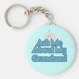 Baby Boy Ask About My Grandson Tshirts and Gifts Keychain