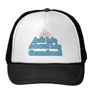 Baby Boy Ask About My Grandson Tshirts and Gifts Trucker Hat