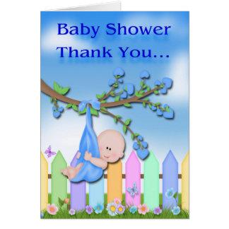 Baby Boy - Backyard Baby Shower Thank You card