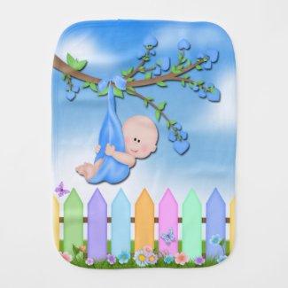 Baby Boy - Backyard Cute Baby Burp Cloth