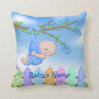 Baby Boy - Backyard Throw Pillow
