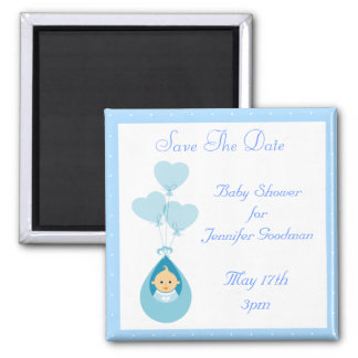 Baby Boy & Balloons Blue Save The Date Baby Shower 2 Inch Square Magnet