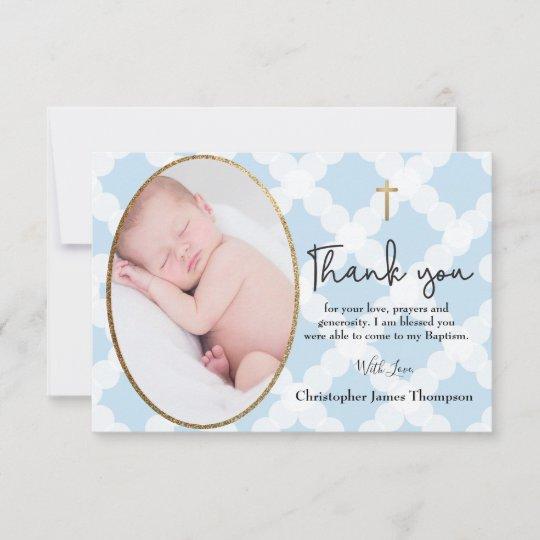 Baby Boy Baptism Christening Blue White Thank You Zazzlecom