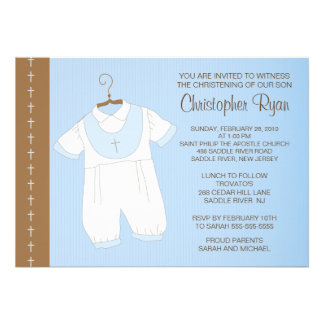 Baby Boy Baptism Christening Inviation Personalized Invitations