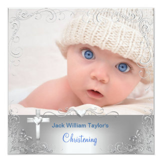 Baby Boy Baptism Christening Silver Cross Personalized Invite