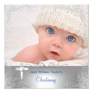 Baby Boy Baptism Christening Silver Cross 5.25x5.25 Square Paper Invitation Card