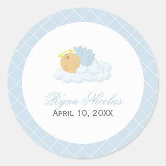 Baby Boy Baptism Classic Round Sticker