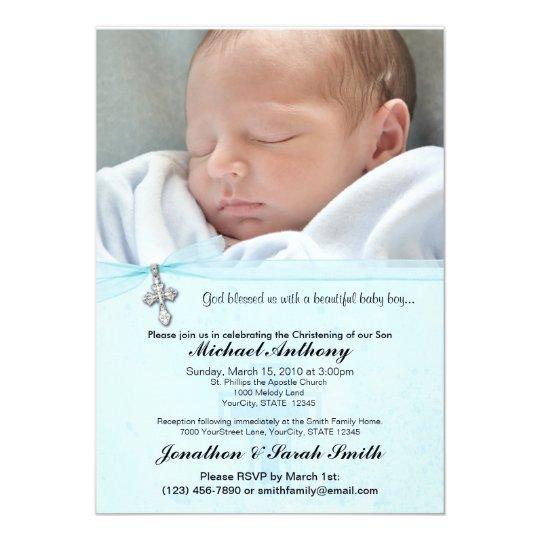 baby boy baptism or christening invitation zazzle com