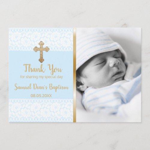 Baby Boy Baptism Thank You Custom Photo Gold Cross