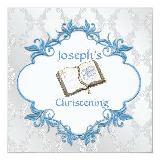 BABY BOY BAPTISM WHITE & BLUE Damask Design Card