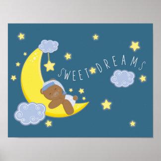Baby Boy Bear Moon Celestial Stars Nursery Print