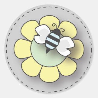 Baby Boy Bee in Blue Classic Round Sticker