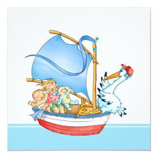 Baby Boy Big Sister Boat - Birth Announcement