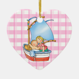 Baby Boy & Big Sister in Boat - Heart Ornament