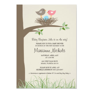 Baby Boy Bird's Nest Baby Shower Card