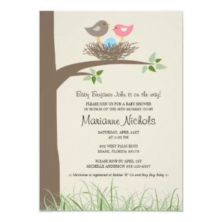 Baby Boy Bird's Nest Baby Shower 5x7 Paper Invitation Card
