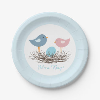 Baby Boy Bird's Nest   Baby Shower Paper Plate