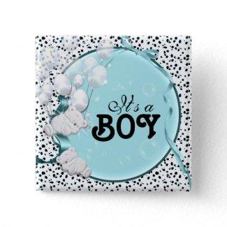 baby boy birth announcement bear pinback buttons