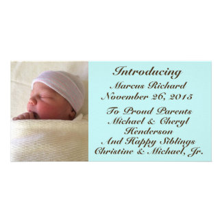 Baby Boy Birth Announcement Brown Font on Blue