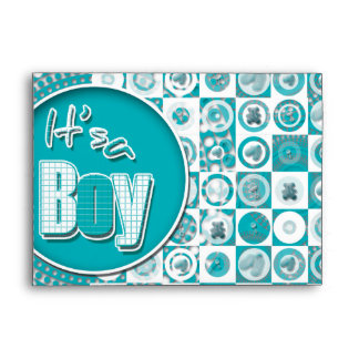 Baby boy birth announcement colored envelopes