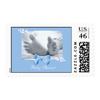 Baby Boy Birth Announcement Feet With Blue Ribbon Stamps
