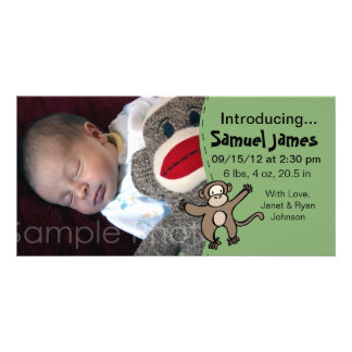 Baby Boy Birth Announcement in Green with Monkey Photo Card