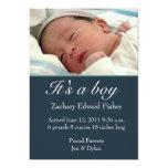 "Baby Boy Birth Announcement 5"" X 7"" Invitation Card"