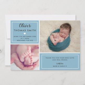 Baby Boy Birth Announcement Multi Photo