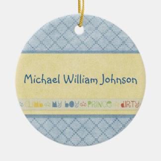 Baby Boy Birth Announcement Ornament