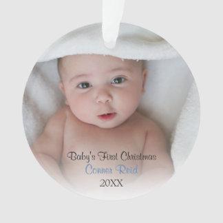 Baby Boy Birth Announcement Photo Circle Ornament