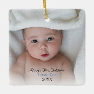 Baby Boy Birth Announcement Photo Square Ornament
