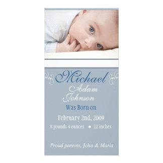 Baby Boy Birth Announcement Photo Card Template