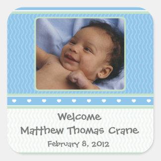 Baby Boy Birth Announcement Sticker