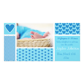Baby Boy Birth Announcement Stripe Stars Hearts