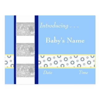 Baby Boy Birth Announcement Template Postcard