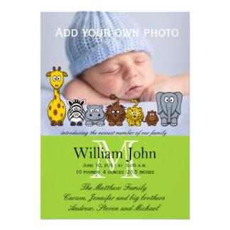 Baby Boy Birth Announcements Jungle Animals