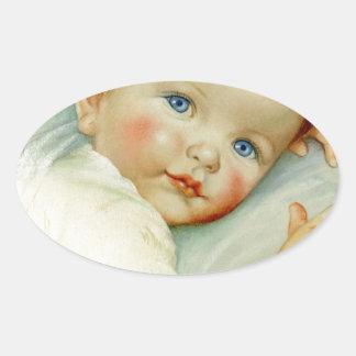 Baby boy birth/birthday oval sticker