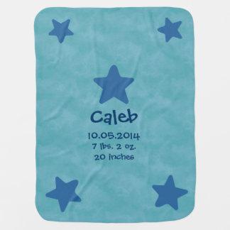 Baby Boy Birth Info Blue Stars Clouds V01 Baby Blanket
