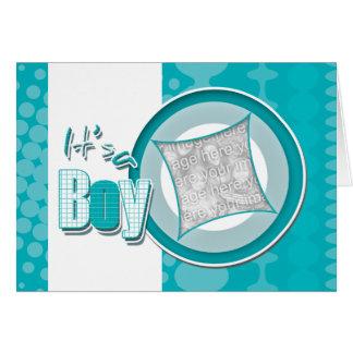 Baby boy birth photo card announcement