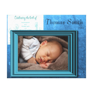 Baby Boy Birth Photo Keepsake Canvas Print