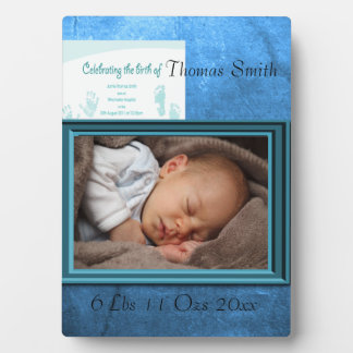 Baby Boy Birth Photo Keepsake Plaque