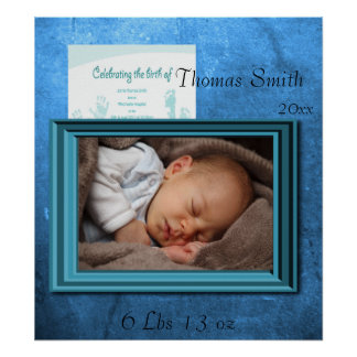 Baby Boy Birth Photo Keepsake Poster