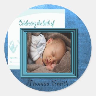 Baby Boy Birth Photo Keepsake Classic Round Sticker