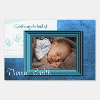 Baby Boy Birth Photo Keepsake Yard Sign