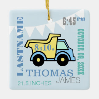Baby Boy Birth Stats Truck Ornament